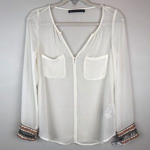 Zara Trafaluc cream blouse top shirt w beaded cuff